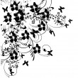 Stock Vector: Flowers and butterflies silhouette on white background
