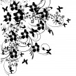 Flowers and butterflies silhouette on white background — Stock Vector