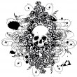 Vector skull with ornaments - Stock Vector