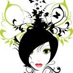 Vector floral girl — Stock Vector