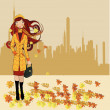 Girl walking on autumn street  — Stock Vector