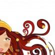 Woman with autumn leaves in her hair, vector — Vector de stock