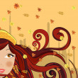 Royalty-Free Stock Vector Image: Autumn woman