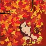 Autumn woman, vector — Stock Vector