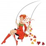 Beautiful autumn girl on swing — Stock Vector #5649633