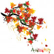 Vetorial Stock : Autumn painted card