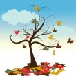 Stock Vector: Abstract tree with autumn leaves vector illustration