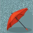 In the rain umbrella vector  — Stockvectorbeeld