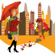 Women with umbrella in the city — Image vectorielle