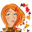 Vector autumn girl — Stock Vector