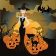 Halloween witch standing with skull and pumpkin — Stock Vector #5649831