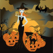 Halloween witch standing with skull and pumpkin - Stock Vector