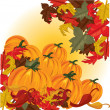 Autumn pumpkins and colorful leaves — Stock Vector