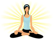Young lady practicing yoga in lotus posture (Padmasana) — Stock Vector