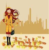 Girl walking on autumn street — Stock Vector