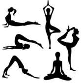 Yoga silhouette - vector — Stock Vector
