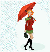 Vector illustration of the girl with umbrella — Stock Vector