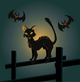 Vector illustration of a black cat on a fence and a vampire bat — Stock Vector
