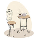 French Cafe Table — Stock Vector