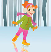 Ice skating girl. Small girl with big smile on ice. Vector carto — Stock Vector