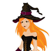Beautiful sexy witch with long red hair and hat — Stock Vector
