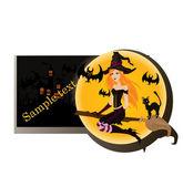 Halloween witch. vector banner — Stock Vector