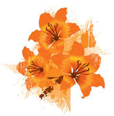 Three orange lily, vector grunge floral background — Stock Vector