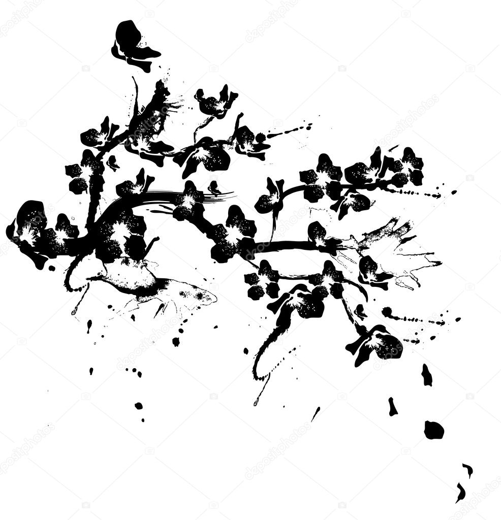 Black Tree And Flower Illustrations 65