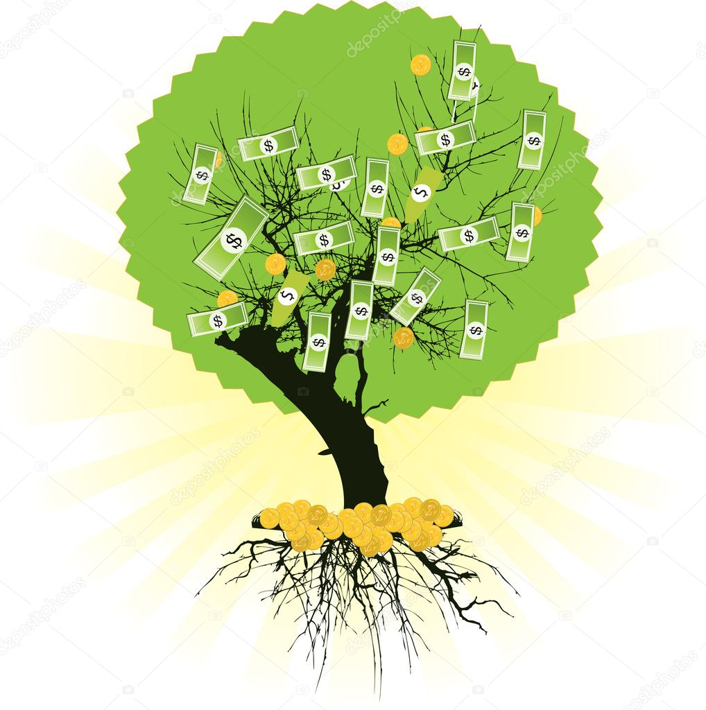 Money tree with dollars. Vector illustration  — Stock Vector #5649352