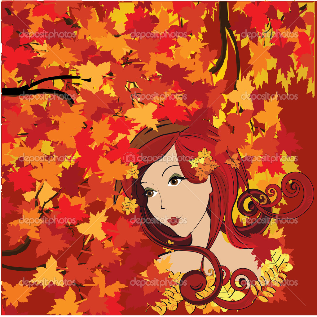 Autumn woman, vector   Stock Vector #5649615