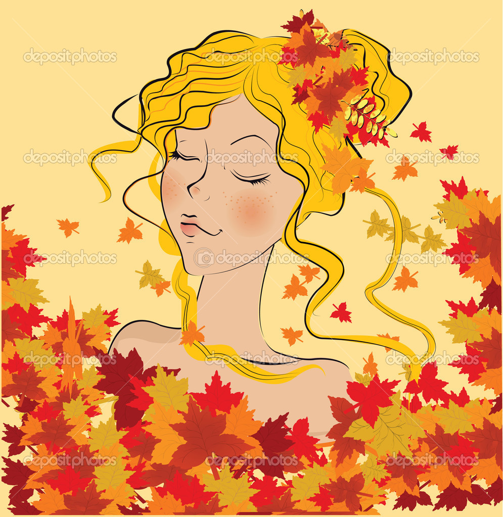 Vector beautiful autumn girl  — Stock Vector #5649647