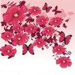 Pink floral background - Stock Vector
