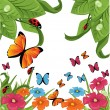 Butterfly and flowers — Stock Vector