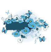 Hermosas flores azules — Vector de stock