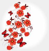 Contexto floral romântico — Vetor de Stock