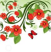 Floral achtergrond rood — Stockvector