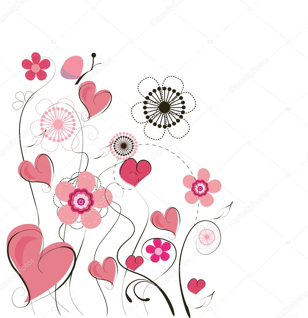 可爱矢量情人节背景 — 矢量图片作者 lindwa