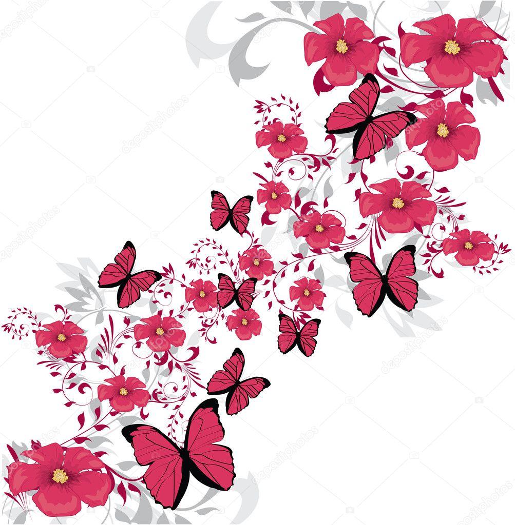 美容粉红色的花设计 — 矢量图片作者 lindwa