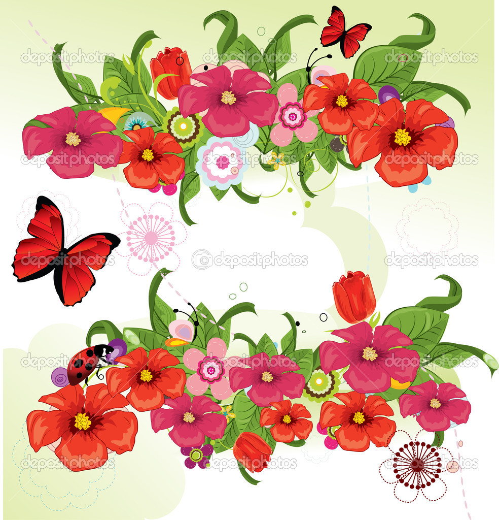 美丽的花丛 — 图库矢量图像08