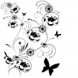 Black and white floral background - Image vectorielle