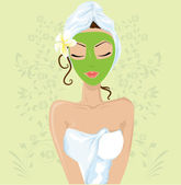 Girl with facial mask — Stock Vector
