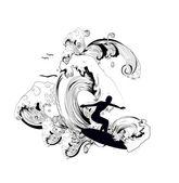 Surf illustration — Stock Vector