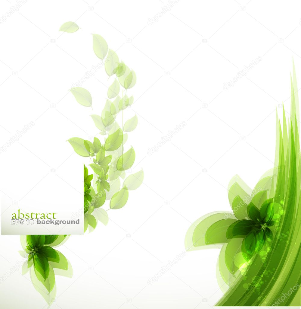 用绿色的树叶背景 — 矢量图片作者 lindwa