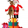 Stock Vector: SantClause and Rudolph