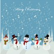 Stock Vector: Christmas card, snowman