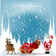 Royalty-Free Stock ベクターイメージ: Christmas card with Santa Claus,reindeers and snowflakes in the