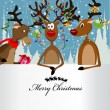 Royalty-Free Stock Vector Image: Merry Christmas Card with three happy reindeer and a text box