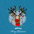 Merry Christmas Card with reindeer — Stock Vector