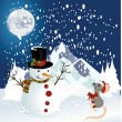 Snowman and mouse christmas background — Stock Vector