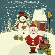 Christmas card with Santa and snowman. Vector. Editable — Stockvectorbeeld